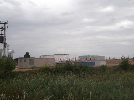 Image shows a biogas plant under construction.