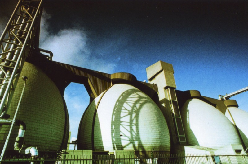 Image shows the type of biogas digester which digest sewage sludge, at sewage works.